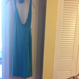 Turquoise /sea greenish wrap  halter dress